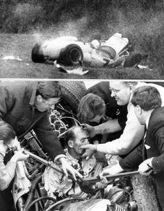 Der britische Rennfahrer Stirling Moss wurde 1962 bei einem Unfall in ...