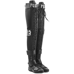 Fenty x Puma by Rihanna Over-the-Knee Boots (1,000 CAD) ❤ liked on Polyvore featuring shoes, boots, black, black over-the-knee boots, flat sole boots, thigh boots, black above the knee boots and black thigh high boots