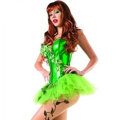 39dd654b92032 This costume includes a shiny green corset with ivy applique embellishments  and a matching pettiskirt. Pantyhose not included.