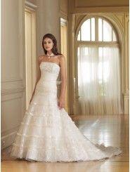 Organza Strapless Softly Curved Back Bodice A-line Wedding Dress