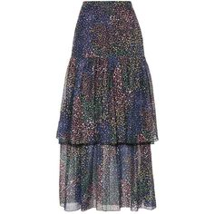 Chloé Ruffled Cotton and Silk Skirt (3 530 AUD) ❤ liked on Polyvore featuring skirts, multicoloured, multi color skirt, colorful skirts, ruffled skirts, flounce skirt and multicolor skirt