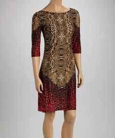 Take a look at this Red & Black Animal Shift Dress by Shelby & Palmer on #zulily today!