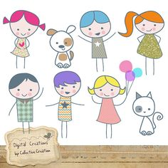 Little People Digital Clip Art Set - Great for Scrapbooking, Card making and general Paper Crafts.