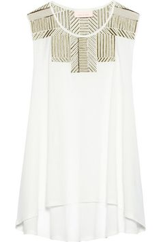 embellished cotton-jersey top