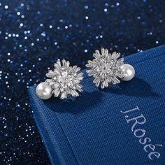 """J.Rosée Gioielli Donna orecchini donna 925 argento e AAA Zircon con un perla naturale """"Romantic come neve"""" con la bella scatola di gioielli, Buon regalo per amore: J.Rosée: Amazon.it: Gioielli"""