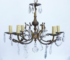 French Antique Gilded Bronze & Crystal Chandelier by Retrocollects £145 https://www.etsy.com/shop/Retrocollects