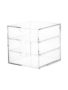 Tyylikkäässä laatikostossa tavaroiden säilytys onnistuu näppärästi. Materiaali on akryyliä. Mitat ovat 20 x 20 x 20 cm.