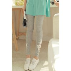 Casual Style Lacework Splicing All-Match Women's Leggings, GRAY, ONE SIZE in Leggings | DressLily.com