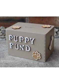 Wooden Money Box - Puppy Fund