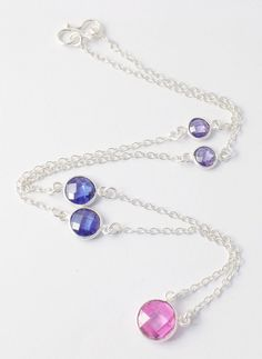 """Pink,Blue,Amethyst CZ Briolette Round Gemstone Necklace,Brass 925 Silver Plated Necklace,18"""" Long Pretty Girls,Women Necklace by UGCHONGKONG on Etsy"""