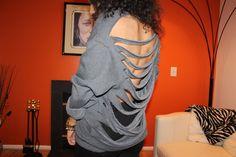 DIY Shredded Sweatshirt. Think I will do this one for the weekend! CUTE & WARM!
