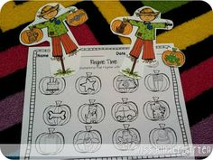 "Scarecrow Rhyme Time Activity (from Miss Kindergarten: ""Fall Math and Literacy Centers"" Packet on TpT)"
