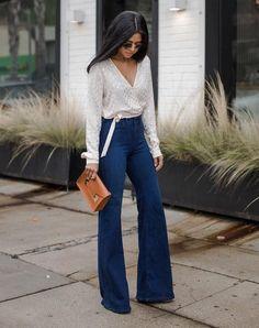 10 Produções certeiras para usar com jeans de cintura alta. Copped com nozinho, calça jeans flare