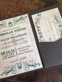 Rustic Wedding Invitation With Wood Textured Card Stock Pocket Fold. Western  Wedding Invitation. Country