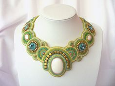 Bead Embroidery necklace spring breeze beaded necklace white green golden blue seed beaded unique bead embroidery necklace OOAK