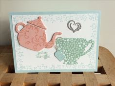 Using the Stampin' Up! Cups and Kettle framelit dies, with blushing bride, mint macaron and soft sky card and ink. I used the Timeless Textures, Bordering Blooms and A Nice Cuppa stamp sets.