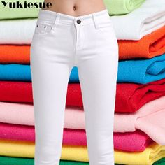High waist jeans for women 2018 winter autumn jeans woman skinny slim OL office denim pencil pants female jeans femme trousers Shoes With Jeans, Jeans Pants, Trousers, Fall Jeans, Jeans Material, Pants For Women, Clothes For Women, Stretch Pants, Casual Jeans
