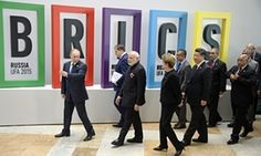 Russia's Vladimir Putin (L), India's Narendra Modi (3rd L), Brazil's Dilma Rousseff (4th L), China's Xi Jinping (6th L) and South Africa's Jacob Zuma (R) at a Brics summit last year.
