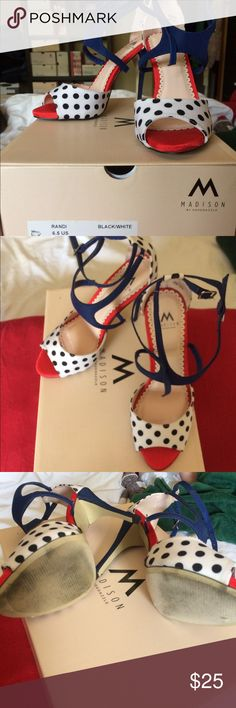 👠🌷HOST PICK🌷👠 Great polka dots heels 🌷👠HOST PICK👠🌷 Flirty Favorites Party 6/2/17.  Great black white red and blue w/polka dots heels. 4 inch height. Size 6 1/2. Look great with the red and white striped dress listed in my closet, bundle and save. All reasonable offers accepted! Shoes Heels
