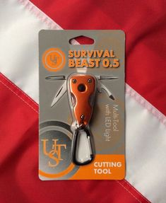 Survival Beast Multi tool with LED light. 5 in 1 multi tool with carabiner includes cutting blade.