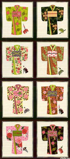 "Kimono - Seasonal Wardrobe - Black - 24"" x 44"" PANEL - at eQuilter.com"