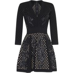 Zuhair Murad Lattice Knit Flared Dress (118,175 DOP) ❤ liked on Polyvore featuring dresses, open back dress, 3/4 sleeve black dress, black flare dress, 3/4 sleeve dress and flare dress