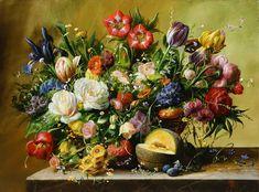 Originals Oils by Gyula Siska Old Master, Originals, Floral Wreath, Bouquet, Artist, Artwork, Painting, Collection, Amor