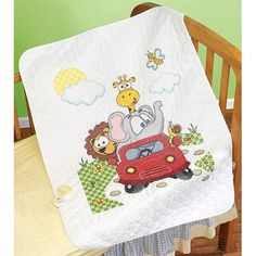 "Free Shipping on orders over $35. Buy Animal Fun Ride Quilt Stamped Cross Stitch Kit, 34"" x 43"" at Walmart.com"