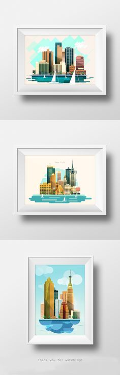 Stylized vector illustration of a city, skyscrapers, business buildings, trees, sailboats. Made in flat style