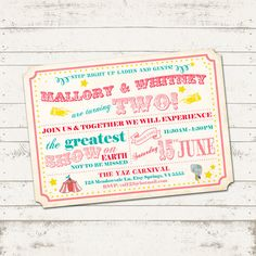 Circus Birthday Invitation - Vintage Inspired Carnival / Retro Circus - Custom, Digital, Printable - Girl or Boy - Blue and Gold