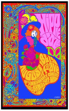 """Bob Masse -Poster for """"Hippie Daze """" Hippie Posters, Rock Posters, Concert Posters, Music Posters, Musik Illustration, Psychedelic Rock, Psychedelic Posters, Hippie Peace, Hippie Life"""