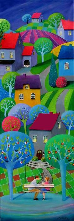 Iwona Lifsches - artist? Anyway, a bright colourful panel along the side, next to text, and then the photographs.