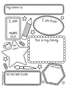 all about me worksheets for back to school week. All about me worksheets printable pdf for preschool, kindergarten and even older kids. Perfect back to school worksheets for the first week of school. Back To School Worksheets, Teacher Worksheets, Free Printable Worksheets, Kindergarten Worksheets, Worksheets For Kids, Preschool Kindergarten, Budgeting Worksheets, Preschool Printables, Teacher Resources