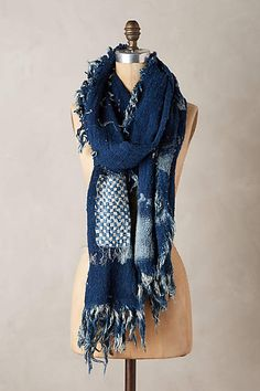 Patchwork Indigo Scarf - anthropologie.com