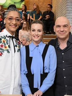 Leighton Meester on The Chew Feb 23, 2017, wearing a Michael Kors shirt https://www.shopstyle.com/action/loadRetailerProductPage?id=539960632&pid=uid7729-3100527-84 and an A.L.C. Jumpsuit https://www.shopstyle.com/action/loadRetailerProductPage?id=615437453&pid=uid7729-3100527-84. #style #celebstyle #michaelkors #jumpsuit #tv #alc