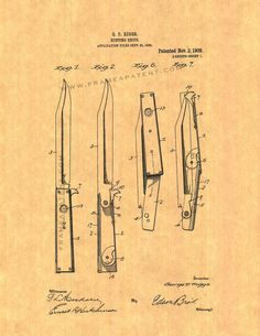 Hunting Knife Patent Art Print by FrameAPatent on Etsy, $8.95
