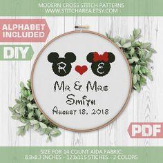 Wedding Cross Stitch Patterns, Disney Cross Stitch Patterns, Modern Cross Stitch Patterns, Mr Mrs, Cross Stitching, Cross Stitch Embroidery, Palestinian Embroidery, Alphabet, Simple Cross Stitch