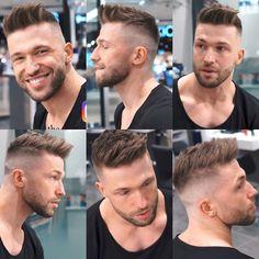 New Hair Cut new hair cut with beard Trendy Mens Haircuts, Cool Haircuts, Short Hairstyles For Men, Cabelo David Beckham, Short Hair Cuts, Short Hair Styles, Fade Haircut, Haircut Style, Men's Cuts
