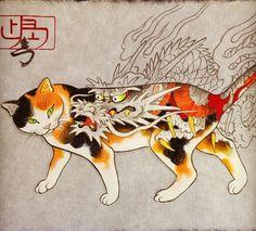 Monmon Cats by Kazuaki Horitomo Kitamura Feline illusions