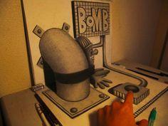 3D Illusion Sketchbook Drawings by Nagai Hideyuki