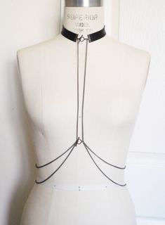 Simple but striking chain body harness with leather collar. Looks great, draped over a simple white tshirt or maxi dress.