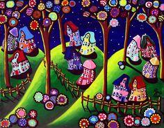 whimsical art   Whimsical Houses and Trees Art Prints by Renie Britenbucher - Shop ...