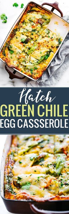 This Roasted Green Chile egg casserole makes for a quick breakfast, lunch, or dinner! An egg casserole with layers of green chiles, creamy artisan cheese, spinach, and other vegetables. It's wholesome yet light and delicious! Grain free, gluten free, and easy to make.  www.cottercrunch.com