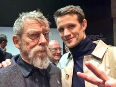 Officially the cutest thing you've seen all day. John Hurt and Matt Smith, both sporting facial hair