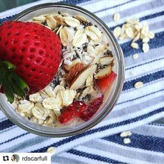 How good does this look?! #Repost @rdscarfull ・・・ Day37 :tada:#gnfitchallenge - Pretty sure my 30min oats were just as #nomnom as #overnightoats :stuck_out_tongue_closed_eyes:. Finally got some #coconutmilk (delish btw:heart:) so I paired it with #strawbe