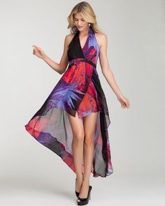 The season's hottest wow dress. (bebe Hi-Lo Halter Maxi Print Dress)
