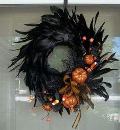 pretty spooky feather wreath
