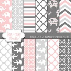 pink and gray elephants digital scrapbook papers by lane + may, $7.00