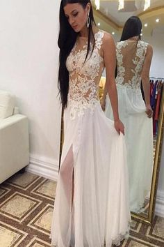 AHP027 Ivory Chiffon Prom Dresses with Slit, Sexy Appliques Beach Wedding Dresses 2017
