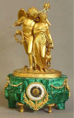 Russian Malachite and Dore Bronze Clock by Deniere - <3
